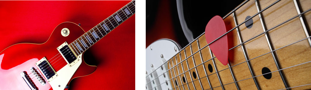 Collage of electric guitars
